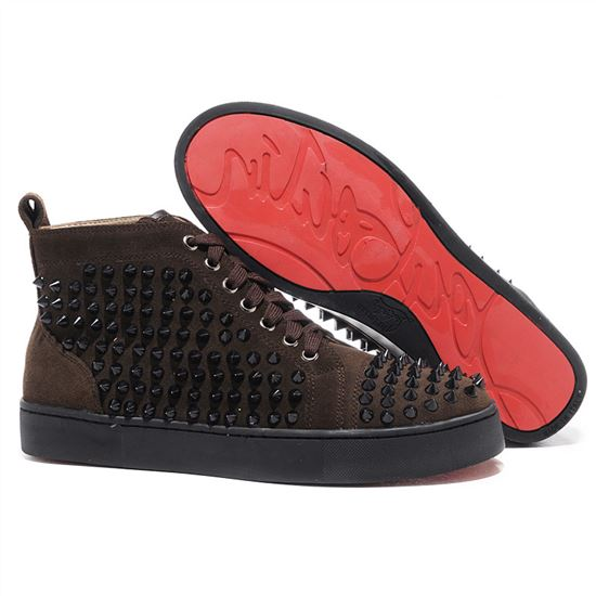 huge selection of 4e63f ddc8e Christian Louboutin Louis Spikes Sneakers Chocolate ...